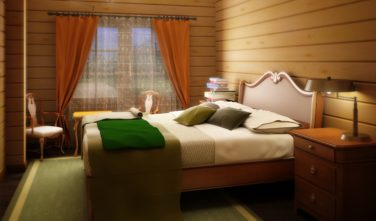 Dřevostavba z masivu Alliaria interiér ložnice