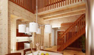 Dřevostavba z masivu FREESIA interiér schodiště