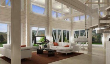 Dřevostavba z masivu LAMINARIA 1 interiér obývací pokoj