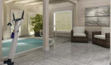Dřevostavba z masivu LAMINARIA 3 interiér s bazénem