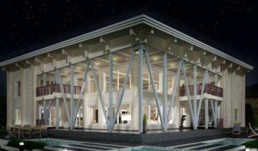 Srubový dům LAMINARIA 3 exteriér v noci