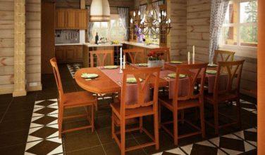 Dřevostavba z masivu LINARIA interiér jídelna
