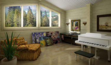 Dřevostavba z masivu NITELLA interiér