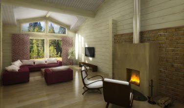 Dřevostavba z masivu NITELLA interiér obývací pokoj