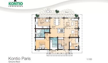 Dřevostavba z masivu PARIS půdorys přízemí