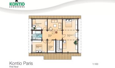 Dřevostavba z masivu PARIS půdorys patro