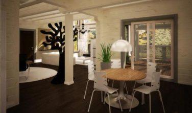 Dřevostavba z masivu RIVER HOUSE interiér jídelna