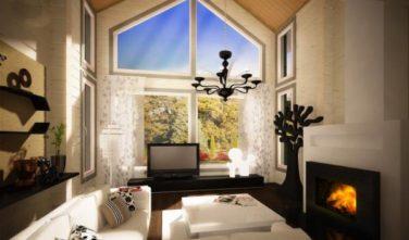 Dřevostavba z masivu RIVER HOUSE interiér obývací pokoj