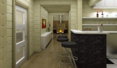 Dřevostavba z masivu NITELLA interiér bar