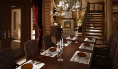 Dřevostavba z masivu WOODSIA interiér jídelna