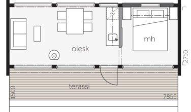 Dřevostavby Kontio Glass House 25E půdorys