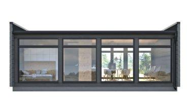 Dřevostavby Kontio Glass House 50 s prosklenou stěnou