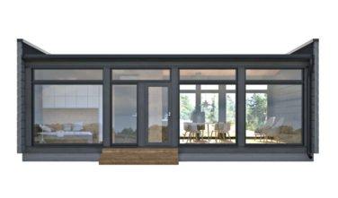 Dřevostavby Kontio Glass House 50 s dveřmi