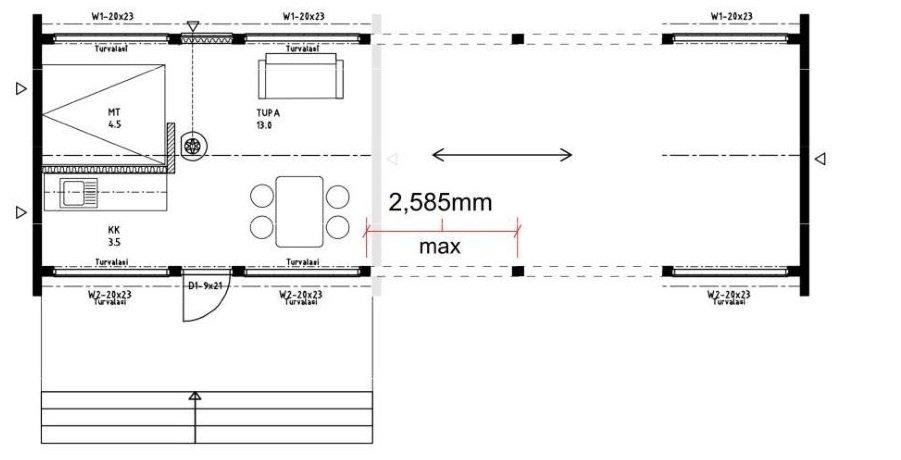 Dřevostavby Kontio Glass House možnosti délky modelů