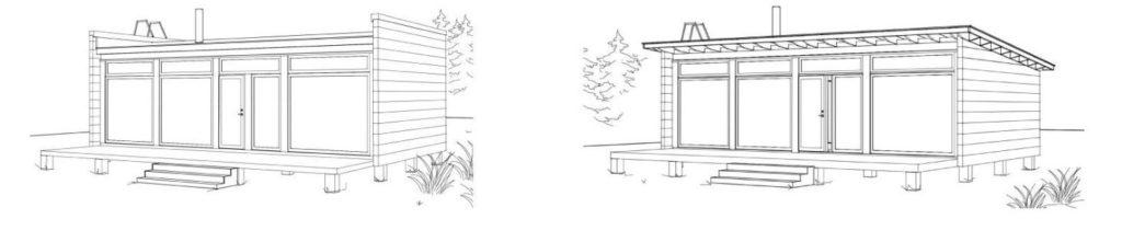Dřevostavby Kontio Glass House možnosti střechy
