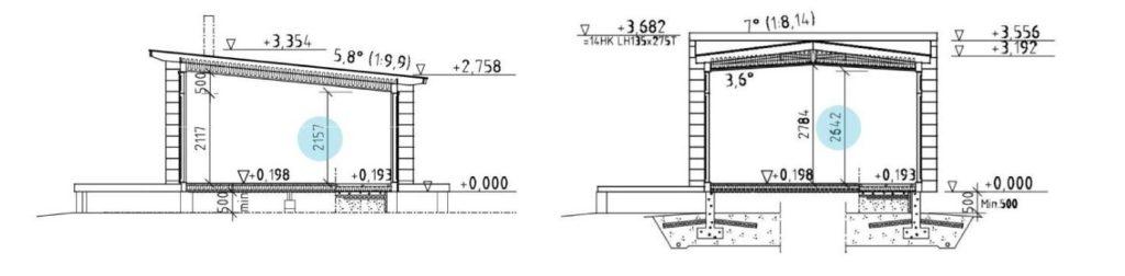 Dřevostavby Kontio Glass House výška modelů
