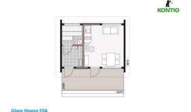 Kontio sruby Glass house půdorys 25A
