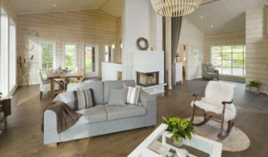 Srubové chaty KONTIO model Bella obývací pokoj
