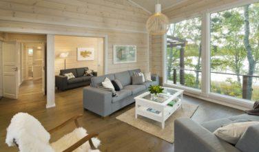 Srubové chaty KONTIO model Bella obývací pokoj s výhledem