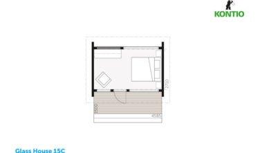 Glass house 15C půdorys - Sruby Kontio