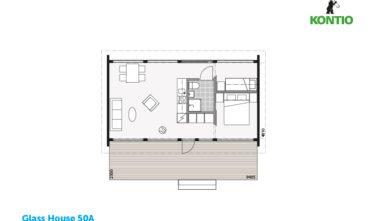 Glass house 50A půdorys - Sruby Kontio