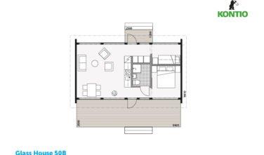 Glass house 50B půdorys - Sruby Kontio