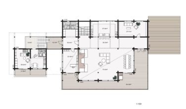 Luxusní srubový dům KONTIO - Mountain ski house - půdorys přízemí