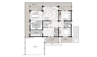 Luxusní srubový dům KONTIO půdorys přízemí