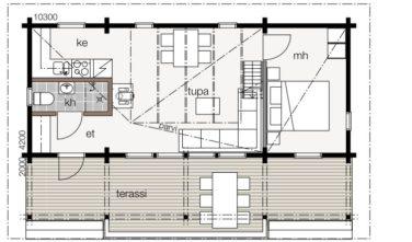Srubové chaty KONTIO model Nalle 45B půdorys
