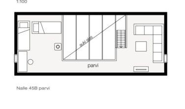 Srubové chaty KONTIO model Nalle 45B půdorys patro