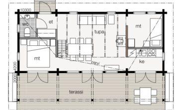 Srubové chaty KONTIO model Nalle 45D půdorys