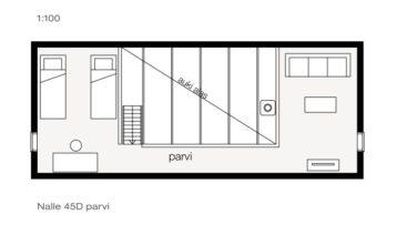 Srubové chaty KONTIO model Nalle 45D půdorys patro