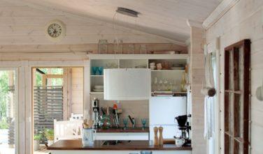 Srubové chaty KONTIO model Nalle-Duo kuchyň