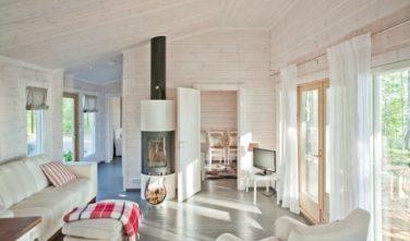 Srubové chaty KONTIO model Nalle-Duo obývací pokoj