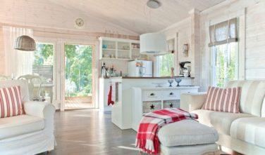 Srubové chaty KONTIO model Nalle-Duo pohled do kuchyně