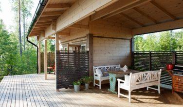 Srubové chaty KONTIO model Nalle-Duo zastřešená terasa