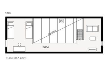 Srubové chaty model KONTIO model Nalle 50A půdorys patro