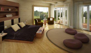 Luxusní srubový dům - dřevostavba z masivu Beta interiér ložnice