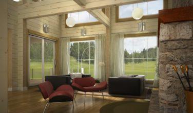 Luxusní srubový dům - dřevostavba z masivu Beta interiér obývací pokoj s velkými okny