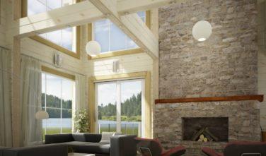 Luxusní srubový dům - dřevostavba z masivu Beta interiér obývací pokoj krb