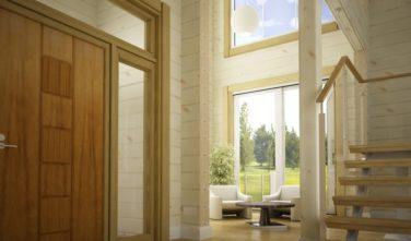 Luxusní srubový dům - dřevostavba z masivu Beta interiér schodiště
