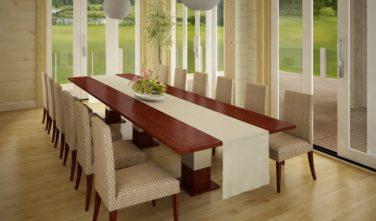 Luxusní srubový dům - dřevostavba z masivu Beta interiér jídelna