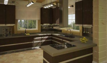 Luxusní srubový dům - dřevostavba z masivu Beta interiér kuchyň