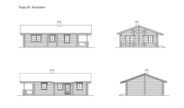Rekreační srubový dům THUJA 2D model