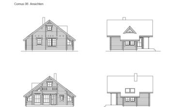 Rekreační srubový dům Cornus 2D model