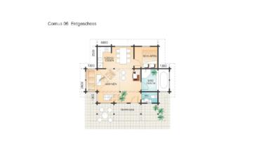 Rekreační srubový dům Cornus půdorys