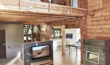 Dřevostavby Kontio River House obývací pokoj