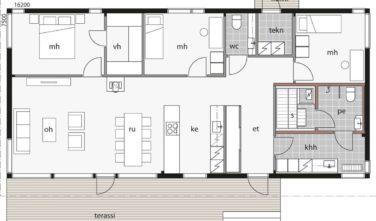 Dřevostavby Kontio Glass House TALO 126B půdorys