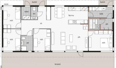 Dřevostavby Kontio Glass House TALO 142A půdorys