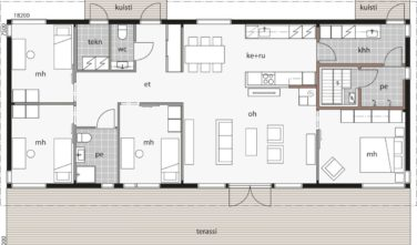 Dřevostavby Kontio Glass House TALO 142A2 půdorys